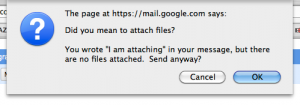 Gmail detects the words 'attachment', 'attaching' in your emails